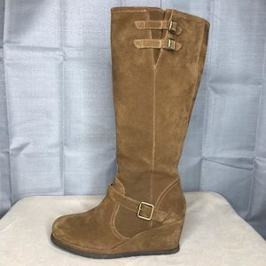 Caterpillar Brown Suede Wedge Riding Boots Sz 11